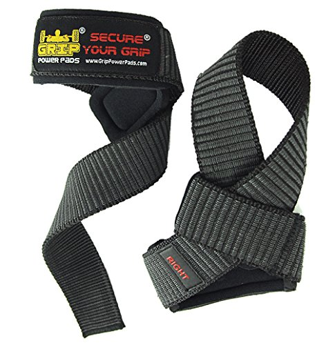 Best Heavy Duty Lifting Straps Neoprene Padded (1 Pair) | Wrist Wraps & Rubbery Grip Support Straps with Cotton Coated Rubber on One Side | Alternative to Power Lifting Hooks Weightlifting Grip Pad | Weight Lifting No-Slip Padded Straps For Bodybuilding 1 Year Replacement Warranty! (Classic Power Black) -  Grip Power Pads®, GPP-CL-WS-RB