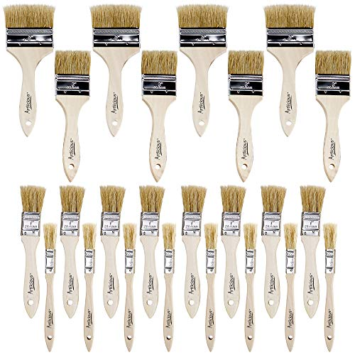 (Artlicious - Pure Hog Bristle Chip Paint Brushes Super Pack (Assorted Sizes - 24 Pack))