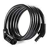 ETRONIC Security Multi-Purpose Self Coiling Cable Lock M4, 4-Feet x 5/16-Inch - Black