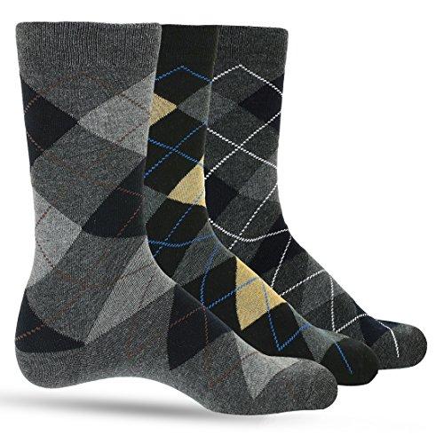 3 Pack of Premium Cotton Argyle Mens Dress Socks For Men – Colorful Fashion - Navy ()
