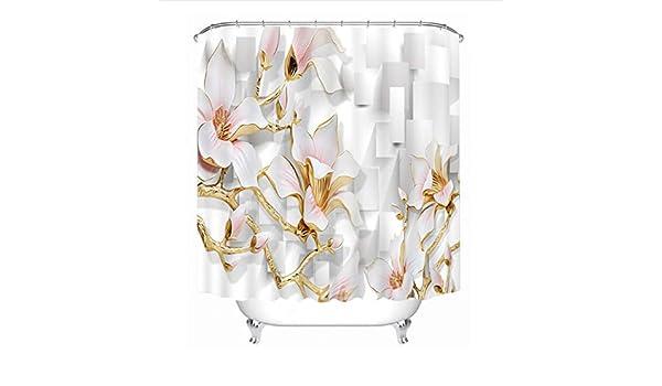 WIXIJAWR Europa Exclusivo Tallado Flores Patrón 3D Cortinas De Ducha Impermeables Engrosadas Baño Cortinas Ganchos De Baño para La Decoración Casera, 220X220 Cm: Amazon.es: Hogar