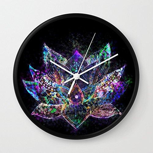Society6 Lotus Flower Glow Wall Clock Black Frame, White Hands