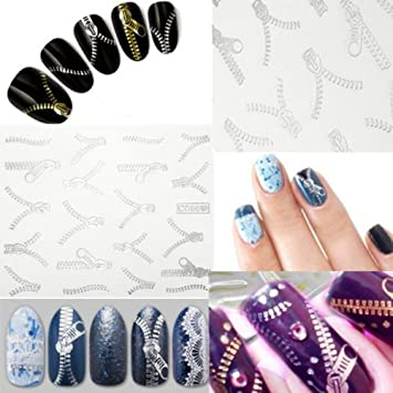 Amazon 20 Pattern Nail Art Tips Silver Zipper Water Transfer