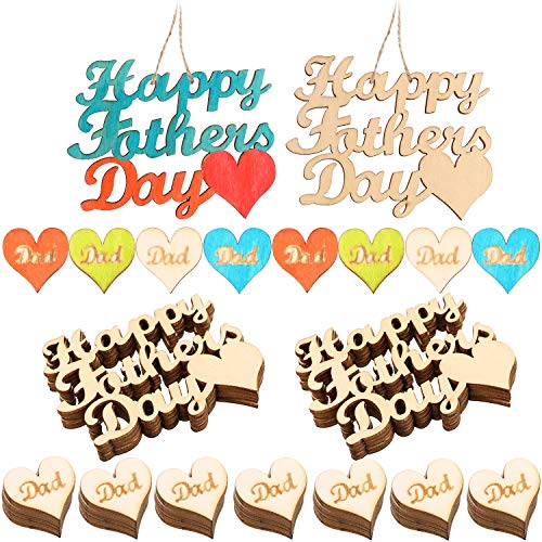 60 Pieces Fathers Day Wooden Embellishments Heart Shape Hanging Ornament Happy Fathers Day Letter Shape Wooden Ornament for Party Decoration and Gift -