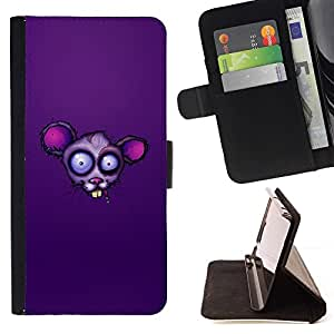 BETTY - FOR Samsung ALPHA G850 - Purple Rat Face - Style PU Leather Case Wallet Flip Stand Flap Closure Cover