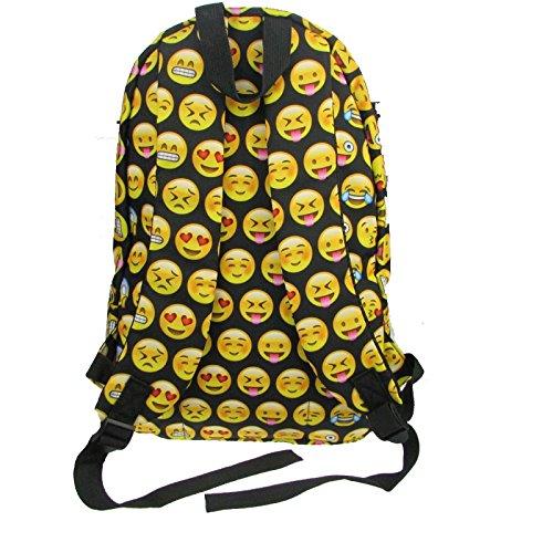 Emoji femmes Smiley Donalworld Backpack 3D Ecole Canvas Noir d'impression wEIqxnPU