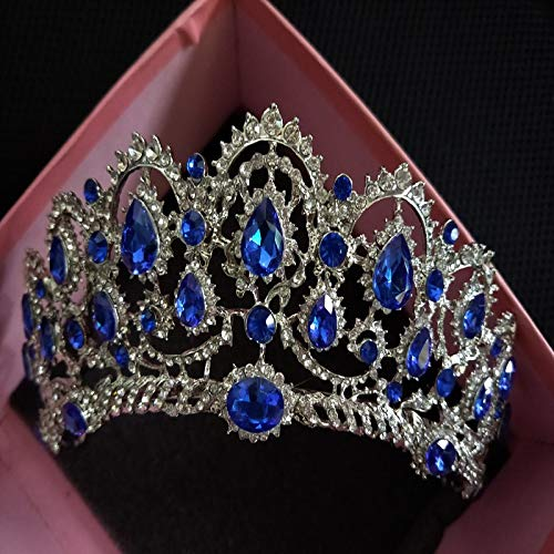 Simulate Crystal Austrian - Bridal Tiara Big Rhinestone Crystal Queen Crown Wedding Hair Accessories Diadem Headband Pageant Hair Ornaments Headdress Blue