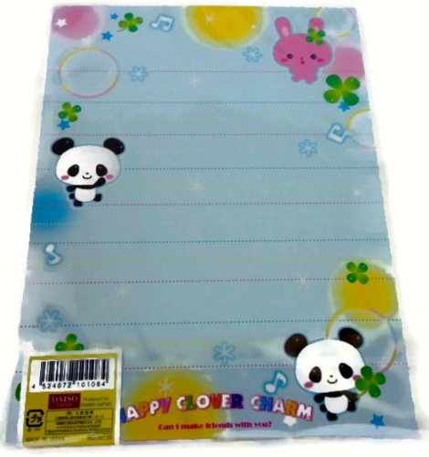 """Happy Clover Charm"" Japanese Panda Writing Stationery Set"