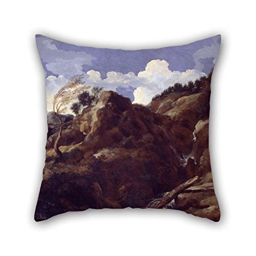 Oil Painting Dughet, Gaspard - Mountainous Landscape With Approaching Storm Pillowcase 16 X 16 Inches / 40 By 40 Cm For Car Seat Living Room Bedding Indoor Wife Home With Two Sides for Christmas ()
