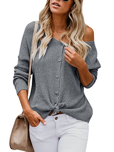 Womens Cardigans Casual Lightweight V Neck Long Sleeve Cardigan Sweaters with Buttons (Medium, R-dark grey)