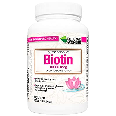 Nature's Wonder Biotin 10000mcg Quick Dissolve Tablets, 300 Count