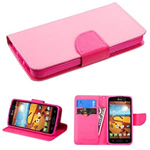 Synthetic Leather Pink And Hot Pink Flip Cover Pouch W/ ID Card Holder Stand For LG Volt LS740 (Accessorys4Less)