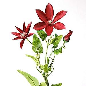qiguch66 Artificial Flower for Decoration, 1Pc 3 Branches Artificial Lotus Simulation Flower Garden Wedding Desk Decoration - Red 1