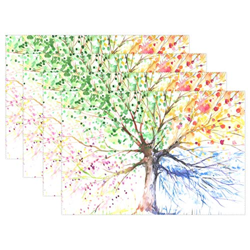 (ALAZA Four Seasons Tree Placemats for Dining Table Heat Resistant Kitchen Table Decor Washable Table Mats 1)