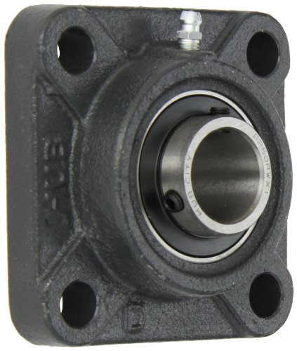 Hub City FB250DRWX1 Flange Block Mounted Bearing, 4 Bolt, Normal Duty, Relube, Setscrew Locking Collar, Wide Inner Race, Ductile Housing, 1