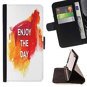 King Case - FOR HTC One M9 - enjoy the day - Prima caja de la PU billetera de cuero con ranuras para tarjetas, efectivo Compartimiento desmontable y correa para la mu?eca