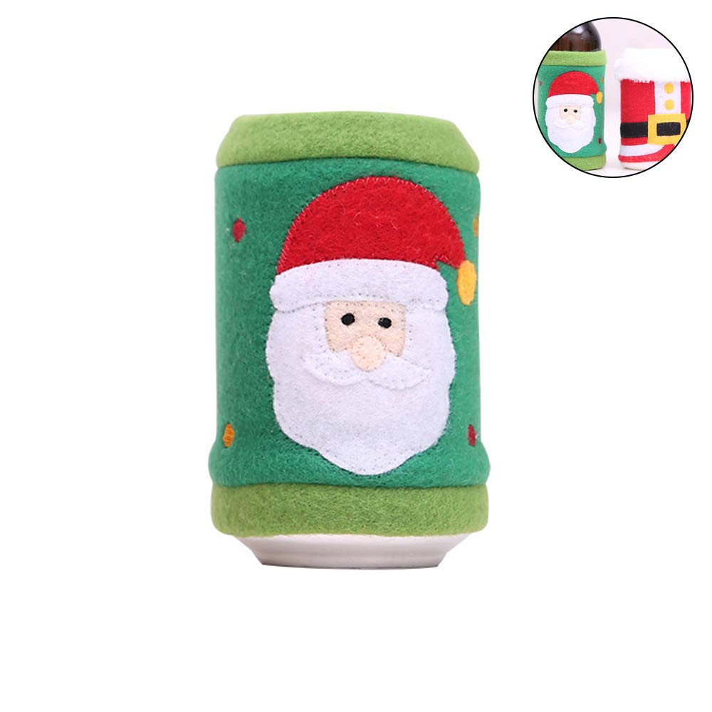 YaptheS 1pc Cloth Can Sleeves Beer Koozies for Cans and Bottles Insulated Drink Coolers(Santa Claus) Best Gift For Christmas