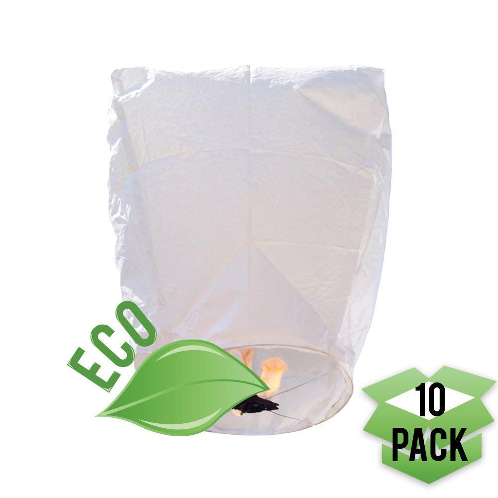 Chinese Paper Flying Sky Lanterns - for Wedding, Christmas, Memorial, Party Wish - Large White Eco Friendly Biodegradable 10 Pack Lantern Set with Small Wax Paper to Light (Diamond) SUPRBIRD