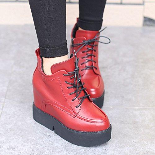 le un muffin a GTVERNH e velvet stivali tacco il Red e merletto fondo col boots con gli a stivali donne martin pendio d'inverno Pqzq6O