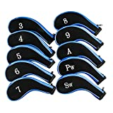 Golf Club Headcovers, Aeola Zipper headcovers for golf clubs iron covers with Interchangeable Number Tag, Blue - 10Pcs