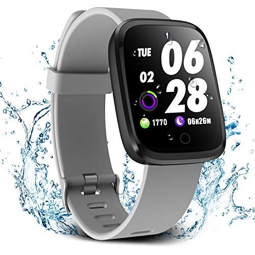 Verpro Smart Watch, Waterproof Fitness Activity Tracker with Heart Rate Monitor, Wearable Oxygen Blood Pressure Wrist Watch, Bluetooth Running GPS Tracker Sport Band, Grey