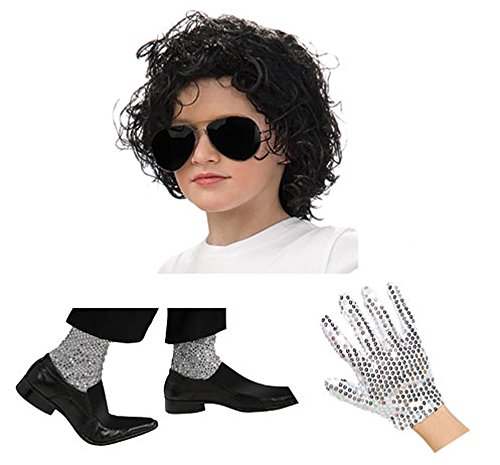 Kids Michael Jackson Dress Up Set Black -