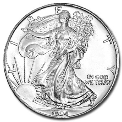 (1994 - 1 Ounce American Silver Eagle Low Flat Rate Shipping .999 Fine Silver Dollar Uncirculated US Mint)