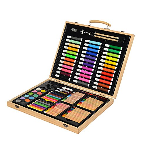 KIDDYCOLOR Deluxe Wood Art Set for Kids in Wooden Case(132 Piece)