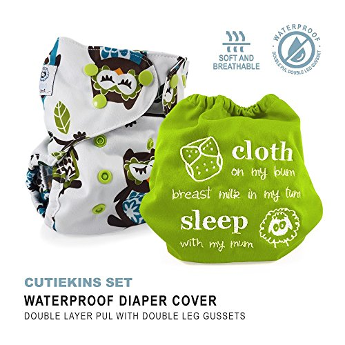 """Baby Tooshy Cloth Diaper Covers with DOUBLE Gussets. Waterproof, Adjustable & Reusable. One Size for Prefolds/ Flats/ Inserts. Set has 1 Embroidered """"Cloth on my bum..."""" & 1 Patterned Cover. Cutiekins from Baby Tooshy"""