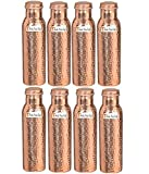 900ml / 30oz – Set of 8 - Prisha India Craft Pure Copper Water Bottle Ayurveda Health Benefits - Best Quality Water Bottles Joint Free, Handmade Christmas Gift