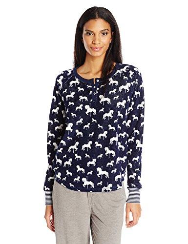 (PJ Salvage Women's Pajama Sleepwear Long Sleeve Top, Henley Navy)
