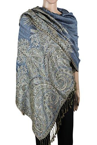Achillea Luxurious Big Paisley Jacquard Layered Woven Pashmina Shawl Wrap Scarf Stole (Steel - Wrap Jacquard