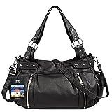 Vbiger Zipper Washed Shoulder Bag Multi Pocket Handbag