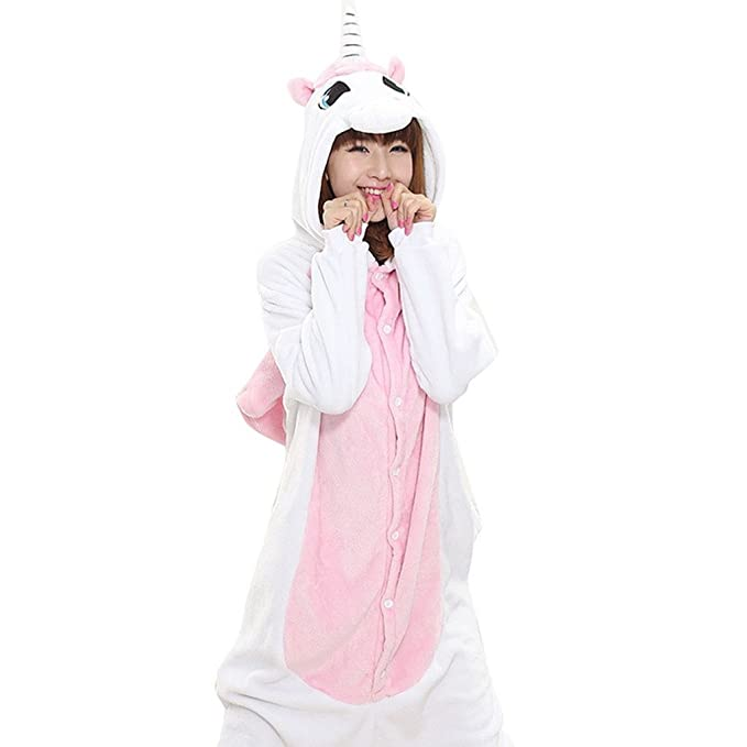 Happy Cherry - Pijama Animal Adulto unisex Traje de Disfraz Cosplay Unicornio Ropa Onesies de Dormir