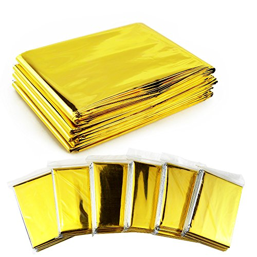 Weoxpr 6 Pack Gold Emergency Mylar Blanket Space Blanket - 52