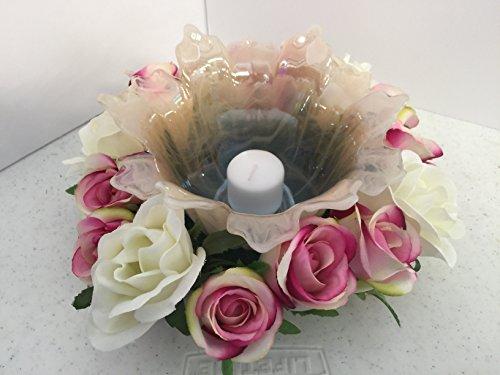 ement- Murano Glass - Fuchsia Pink/White and White Roses ()