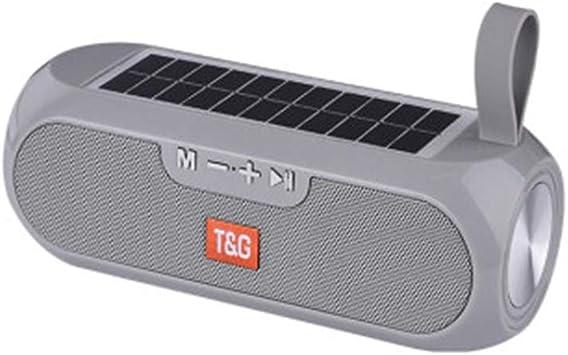 FWRSR Altavoz Bluetooth estéreo portátil inalámbrico Columna Caja de música Solar Power Bank Boombox MP3 Altavoz al Aire Libre Altavoces a Prueba de Agua,Gris: Amazon.es: Deportes y aire libre