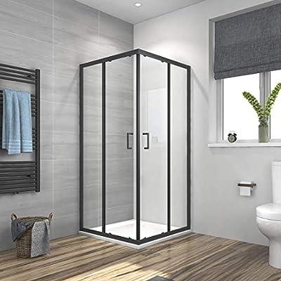 Meykoe Cabina de ducha esquinera con puerta corredera con marco ...