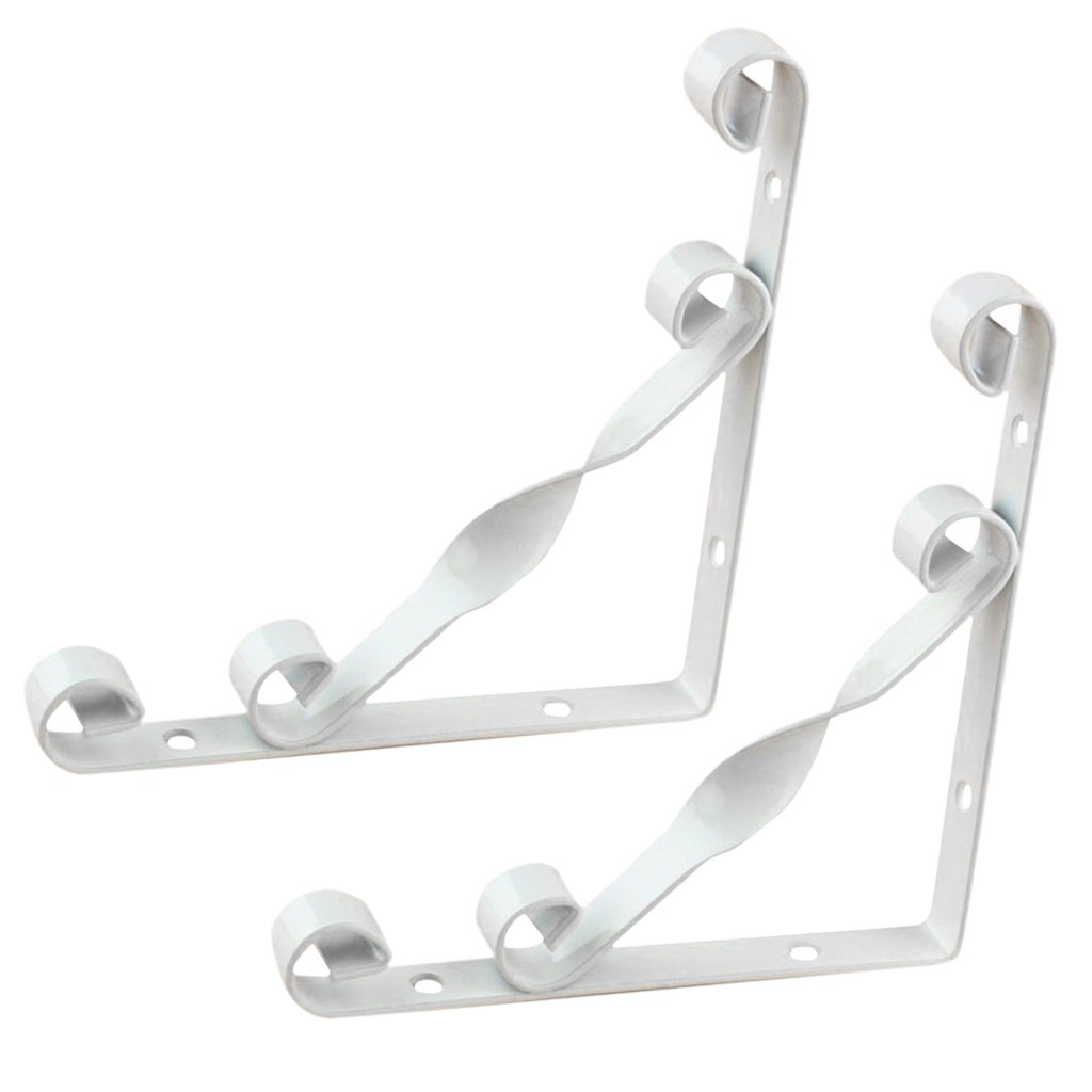 MagiDeal 2PCS RUSTPROOF METAL WALL MOUNTED SHELF BRACKET L SHAPED SUPPORTER 15/20/25/30CM - White, 20x20cm by Unknown