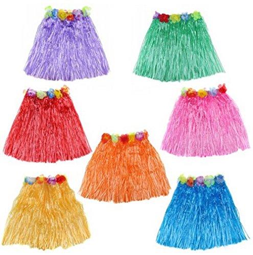 [BOSHENG Tropical Multi-Colored Kids Sized Artificial Grass Hula Skirts,Set of 6] (Hawaiian Hula Outfits)
