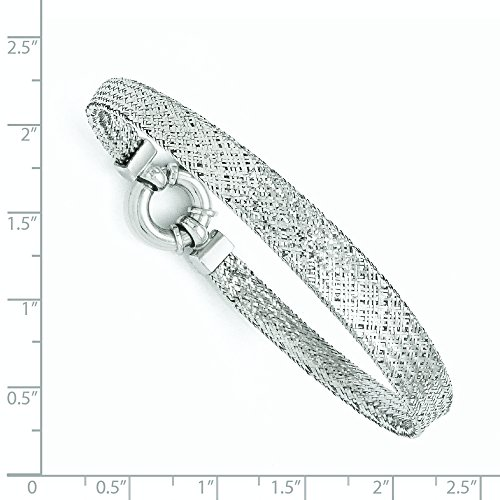Or blanc 14 carats - Bracelet en Maille Filet - 18 cm