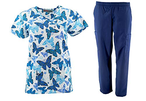 Women's Printed Scrub Sets Top & Pant Sizes XS S M L XL 2XL Multiple Prints Nursing (XS, Royal Blue)