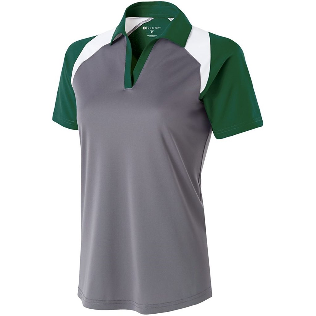 Holloway Ladies Dry Excel Shield Polo (Small, Graphite/Forest/White) by Holloway