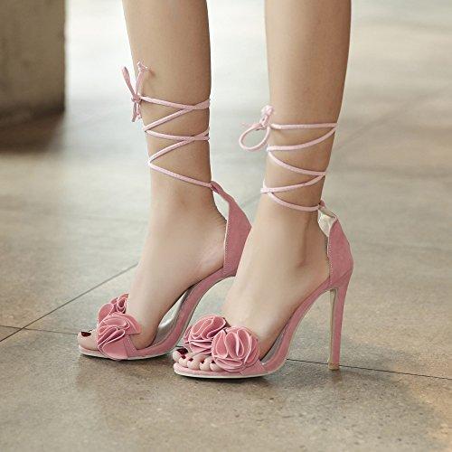 Femmes Extreme Peep Toe Stiletto Talons Hauts Bride à La Cheville Lace-Up Fleurs Satin Soirée Sandales Pink d2lHhiJT