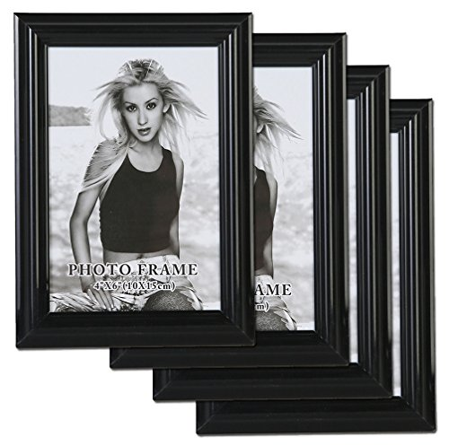 Giftgarden Picture Frames 4x6 Black Photo Frame Set for Wall, 4 Pack, Glass Protection