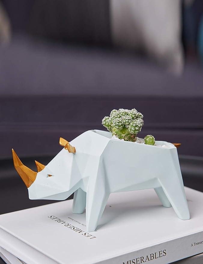 Amoy-Art Rhinoc/éros Planteur Succulente Rhino Planter D/écor D/écoration de Maison Figurine Sculpture Statue Ornement Ornament Arts Artisanat Crafts Home Decor 18cmL