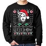 fresh tees Let It Snow Jon Snow Ugly Christmas Sweatshirt (Medeium, Black)