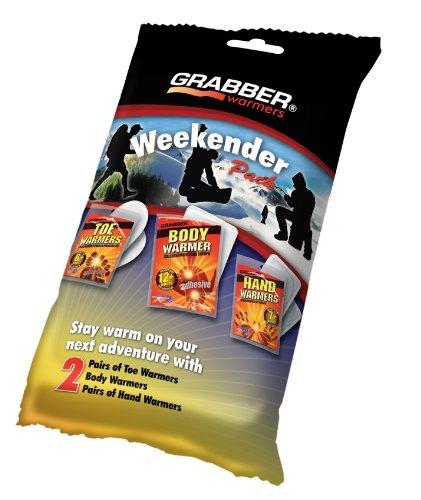 Grabber Warmers Grabber Weekender Multi-Warmer Pack, 2 Pair Hand, 2 Pair Toe, 2 Peel N' Stick Body Warmers, 6-Count