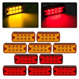 4 x 2 rv marker lights lenses - Partsam 4x2 Led Side Marker Lights Lamps Truck Trailer Clearance Lights Sealed Lorry Caravan Sealed Indicators Lights Waterproof (5Amber+5Red)