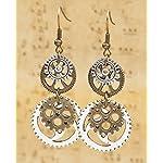 """Best Wing Jewelry Antique-Bronze-Tone""""Gear"""" Earrings 7"""